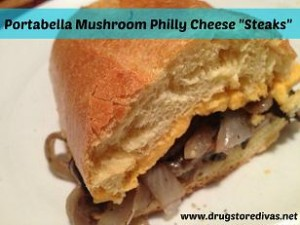 "Looking for a Meatless Monday meal? Try these Portabella Mushroom Philly Cheese ""Steaks"" from www.drugstoredivas.net."