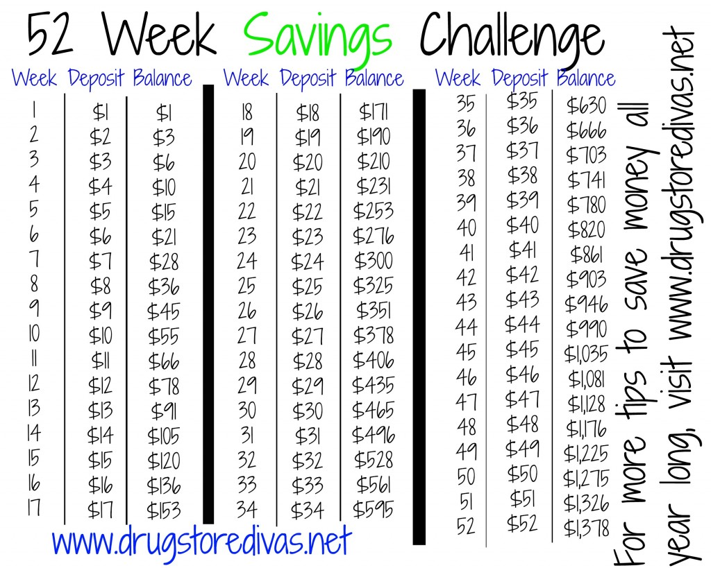 52 Week Savings Challenge free printable
