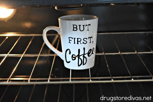 #ad Life starts after coffee, which is why you need to make this DIY But First, Coffee Mug by www.drugstoredivas.net. #ElevateTheSeason