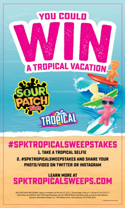 Need a vacation? Enter the SOUR PATCH Kids Tropical Vacation Sweepstakes.