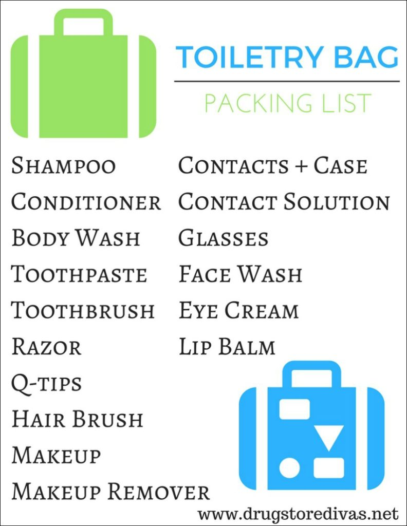 Planning a vacation? Be sure to check out this Toiletry Bag Packing List from www.drugstoredivas.net first.