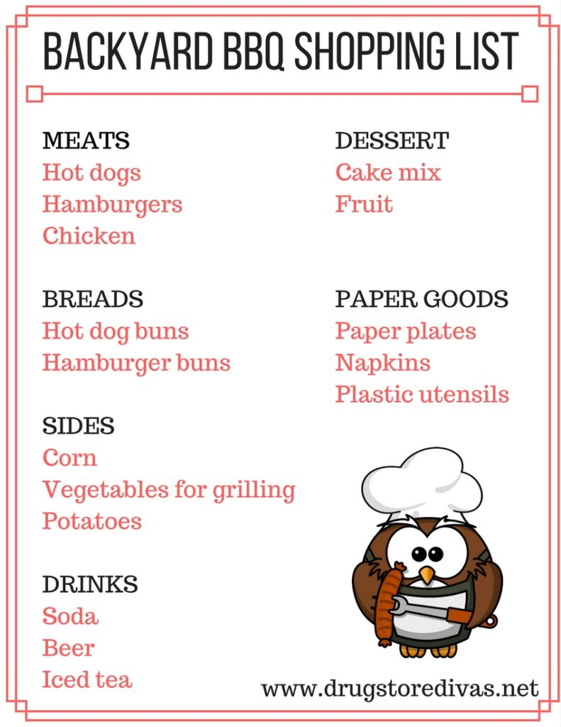 If you're hosting a BBQ this summer, download this printable Printable Backyard BBQ Shopping List from www.drugstoredivas.net first.
