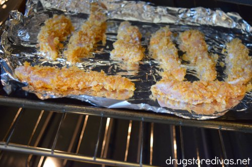 This pork rind-crusted chicken finger recipe is a great twist on a traditional chicken finger. Get the recipe at www.drugstoredivas.net.