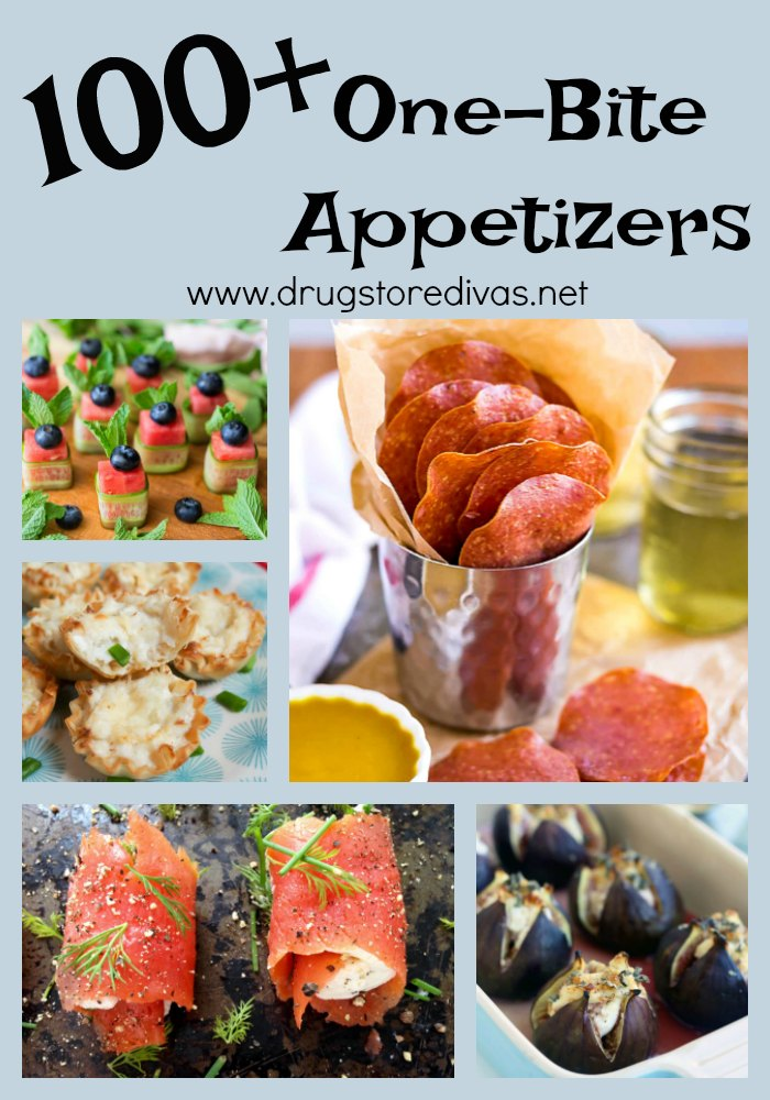 Change up your menu for your summer parties and get inspired by our list of 100+ one-bite appetizers here: http://www.drugstoredivas.net/one-bite-appetizers/ There are meat and seafood appetizers, plus vegetarian options as well!