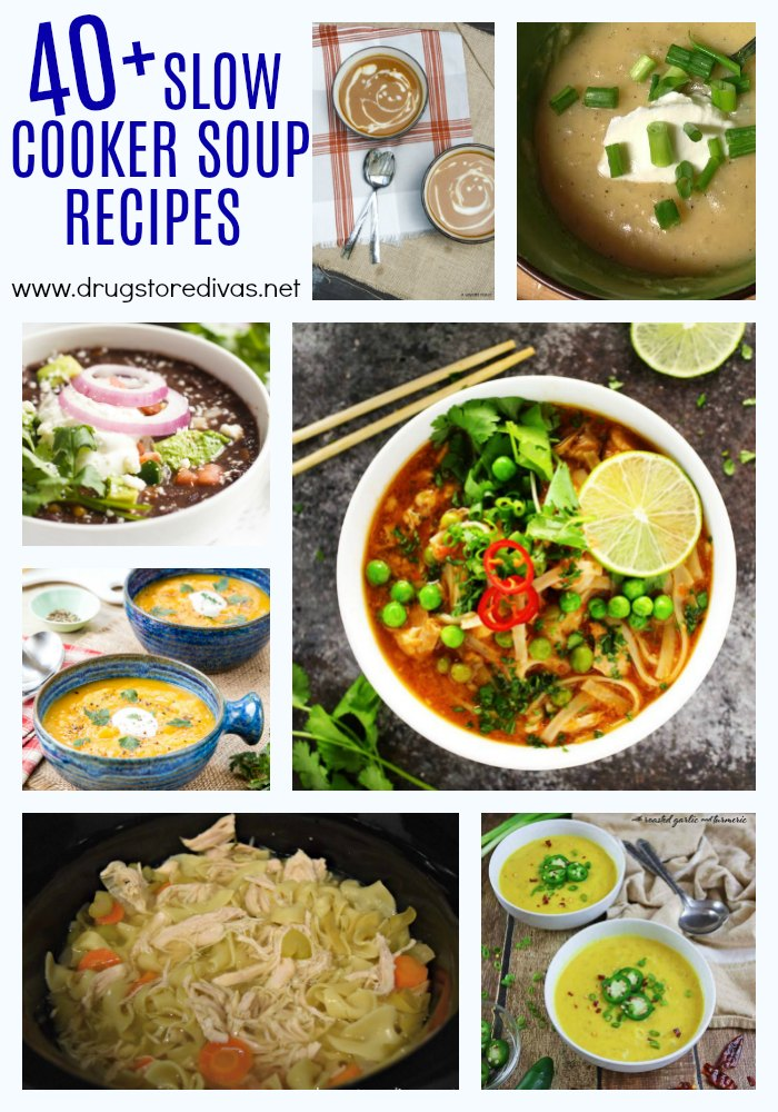 Fall is the perfect time to take out the slow cooker and make some soup. Get inspired with these 40+ Slow Cooker Soups Recipes from www.drugstoredivas.net.