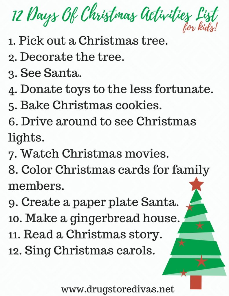 #ad How are you and your kids getting into the holiday spirit this year? This 12 Days Of Christmas Activities List For Kids will put you in the mood. Get it at www.drugstoredivas.net.