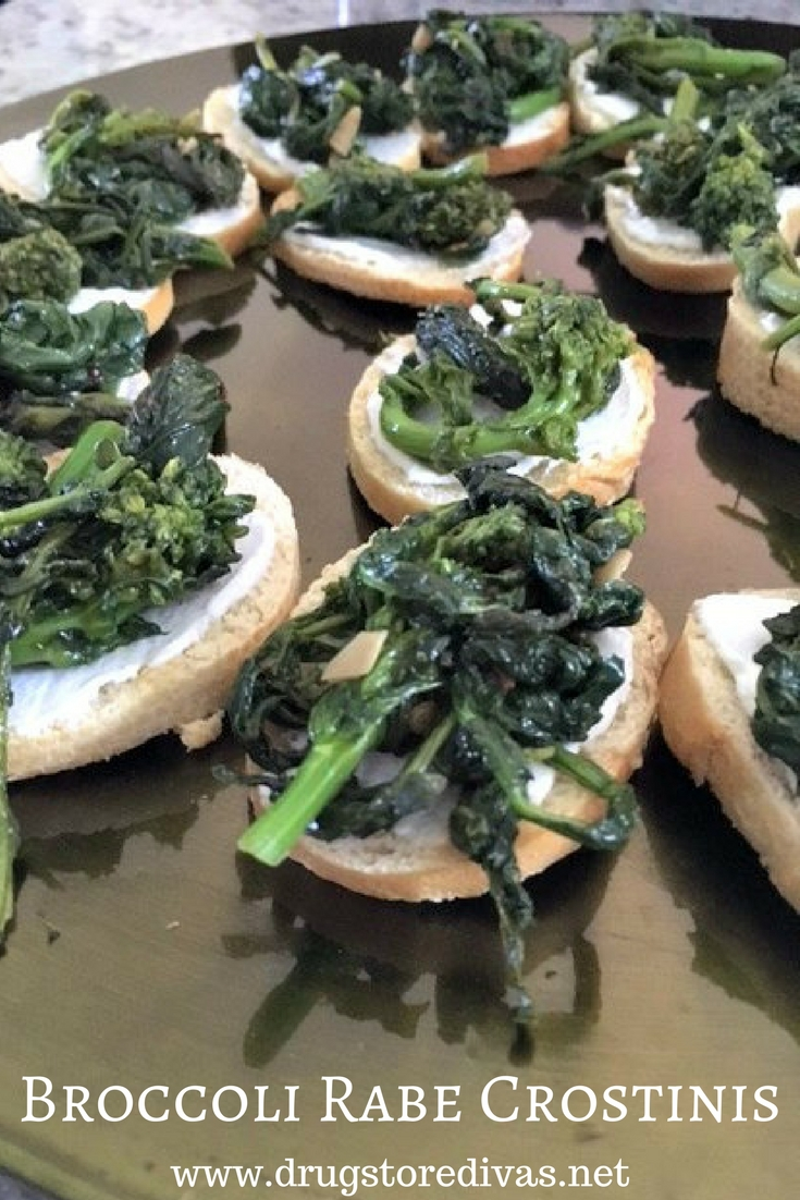 If you want a unique one-bite appetizer, check out these Broccoli Rabe Crostinis from www.drugstoredivas.net.
