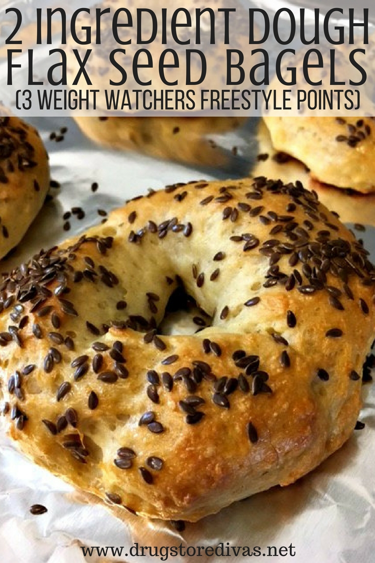 These 2 Ingredient Dough Flax Seed Bagels are so easy to make. Plus, they're only 3 Weight Watchers Freestyle Points. Get the recipe at www.drugstoredivas.net.