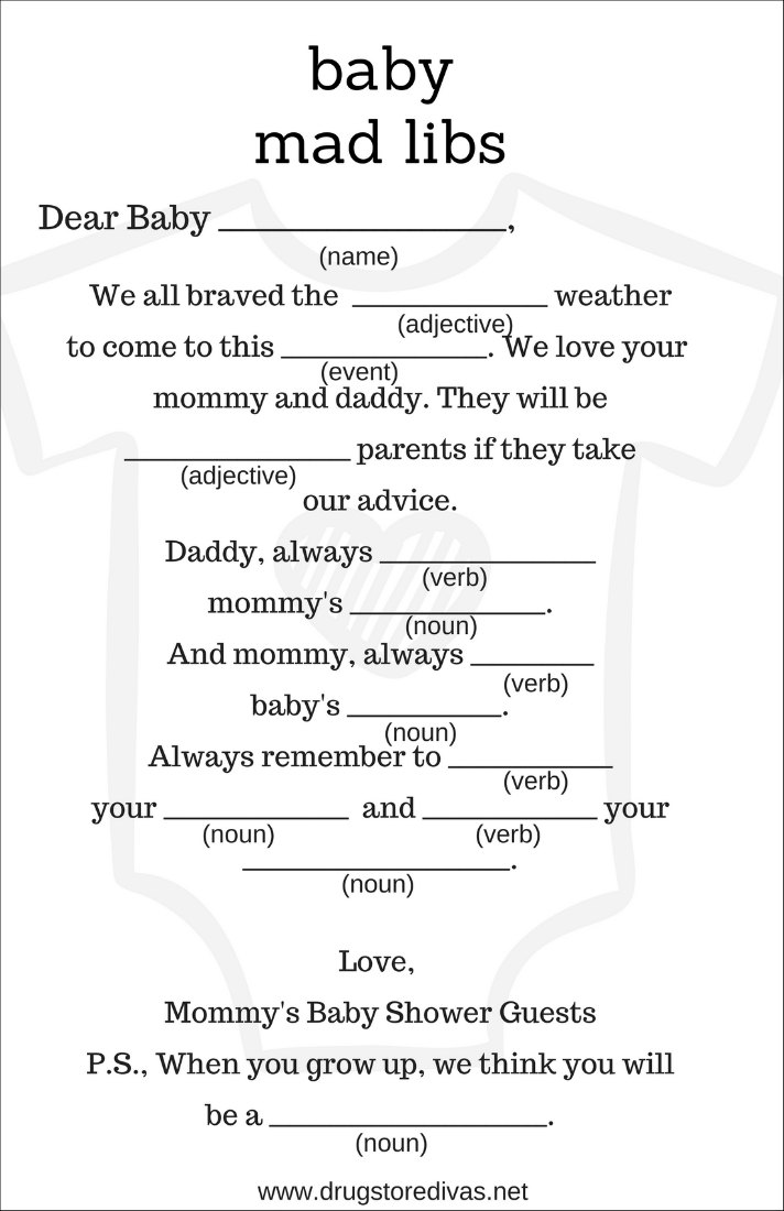 photo about Funny Fill in the Blank Stories Printable identify Do-it-yourself Kid Shower Ridiculous Libs (with no cost printables) - Drugstore