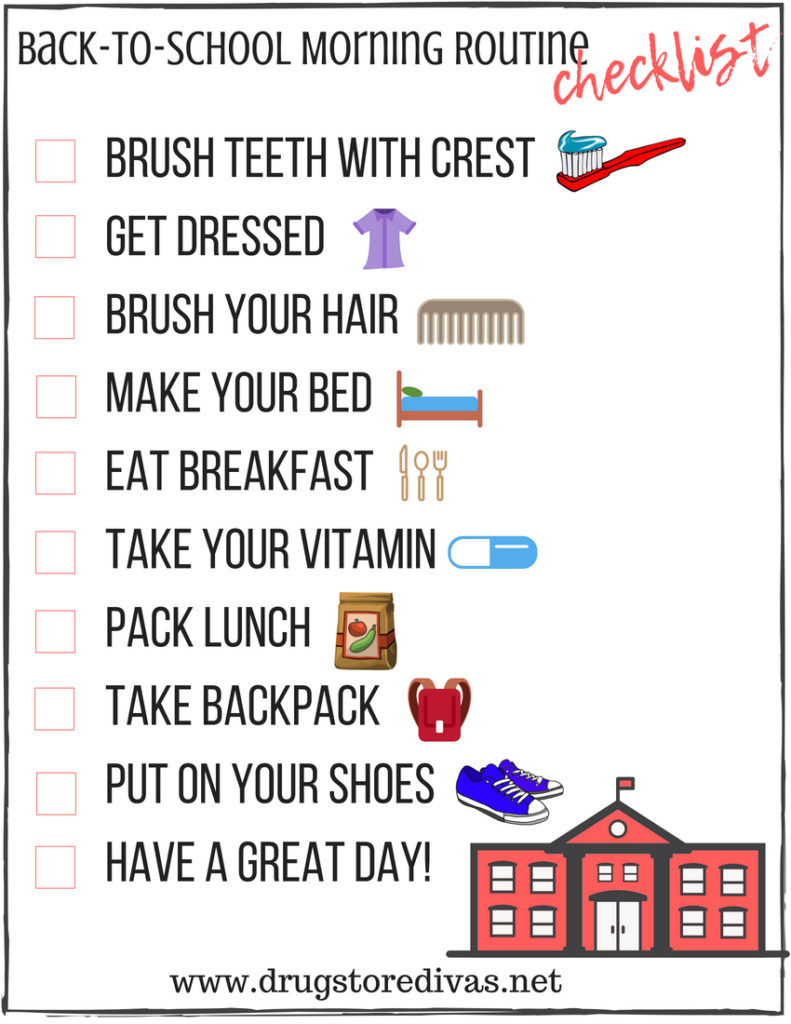 image relating to Morning Routine Printable identified as Back again-Towards-Faculty Early morning Schedule (furthermore a cost-free printable
