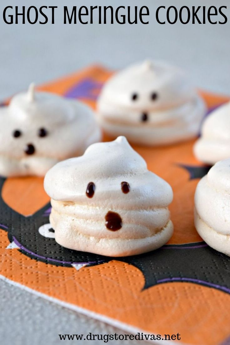 These adorable Ghost Meringue Cookies will be perfect for your Halloween party dessert. Get the recipe at www.drugstoredivas.net.